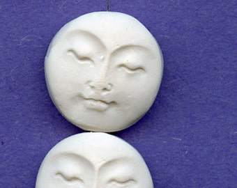 6 White Faux Bone Polymer White Moon Beads Top to Bottom Drilled WTMBT
