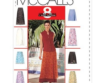 McCalls 2192 Sewing Pattern Skirts 8 Great Looks Wrap Skirts in 2 Lengths Size F 16-20