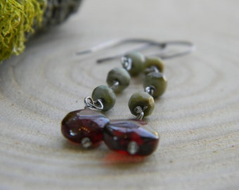 garnet and cats eye earrings -  oxidized silver dangles