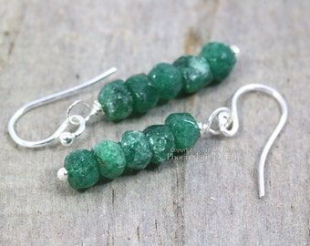 Emerald Green Aventurine Earrings 925 Sterling Silver Dainty Earring Simple Dark Green Gemstone Jewelry Dangle Style Woodland Rustic RTS