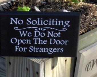 No Solicting We Do Not Open The Door For Strangers Wood Vinyl Sign Home Decor Door Hanger Private Residence Property Do Not Disturb