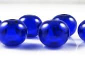 Mini Cobalt Blue Hollow Lampwork Glass Bead Set (6)