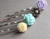 Small Silver Bobby Pins - Set of 4 - Flowers - Pale Yellow, Aqua, Brown, Purple