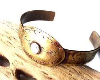 Brass Metal Bracelet - Hippie Cuff Bracelet - Brass Cuff Bracelet