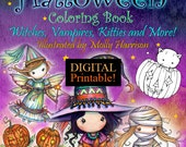 Printable Digital Download - Whimsical Halloween Coloring Book by Molly Harrison - Witches, Vampires, Cats and More!
