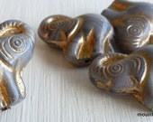 Czech Glass Elephant Beads - Opaque Grey Gold Picasso Beads -  Elephant Beads Czech Glass Beads (GG - 9)