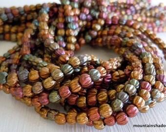 Melon Beads 3mm  - Premium Czech Glass Matte Metallic Bronze Iris Beads - 100 beads (G - 134)
