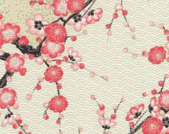 Chiyogami or yuzen paper - branches of coral cherry blossoms on a pale moss green background and gold accents, 9x12 inches