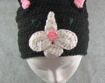 Crochet Pattern - Black Cat Hat - Animal Hat Pattern - Cat Crochet Pattern - Men's Hat - Women's Hat - PDF - Digital Download