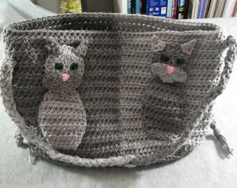 Crochet Pattern -Two-Color Cat Applique Purse - Cat Applique - Tote Bag- Tabby Cat - Animal Pattern - PDF - Digital Download