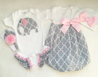 Baby girl GIFT SET...gown or romper-- Or both. Twin outfits-- or a gift set... girls clothing