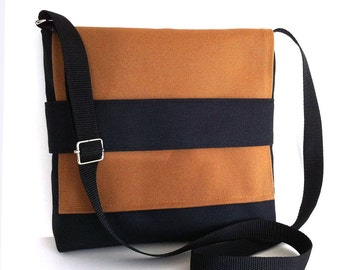Small messenger bag Black cross body bag Women men Small messenger purse Side bag Crossbody purse Travel bag Canvas messenger bag