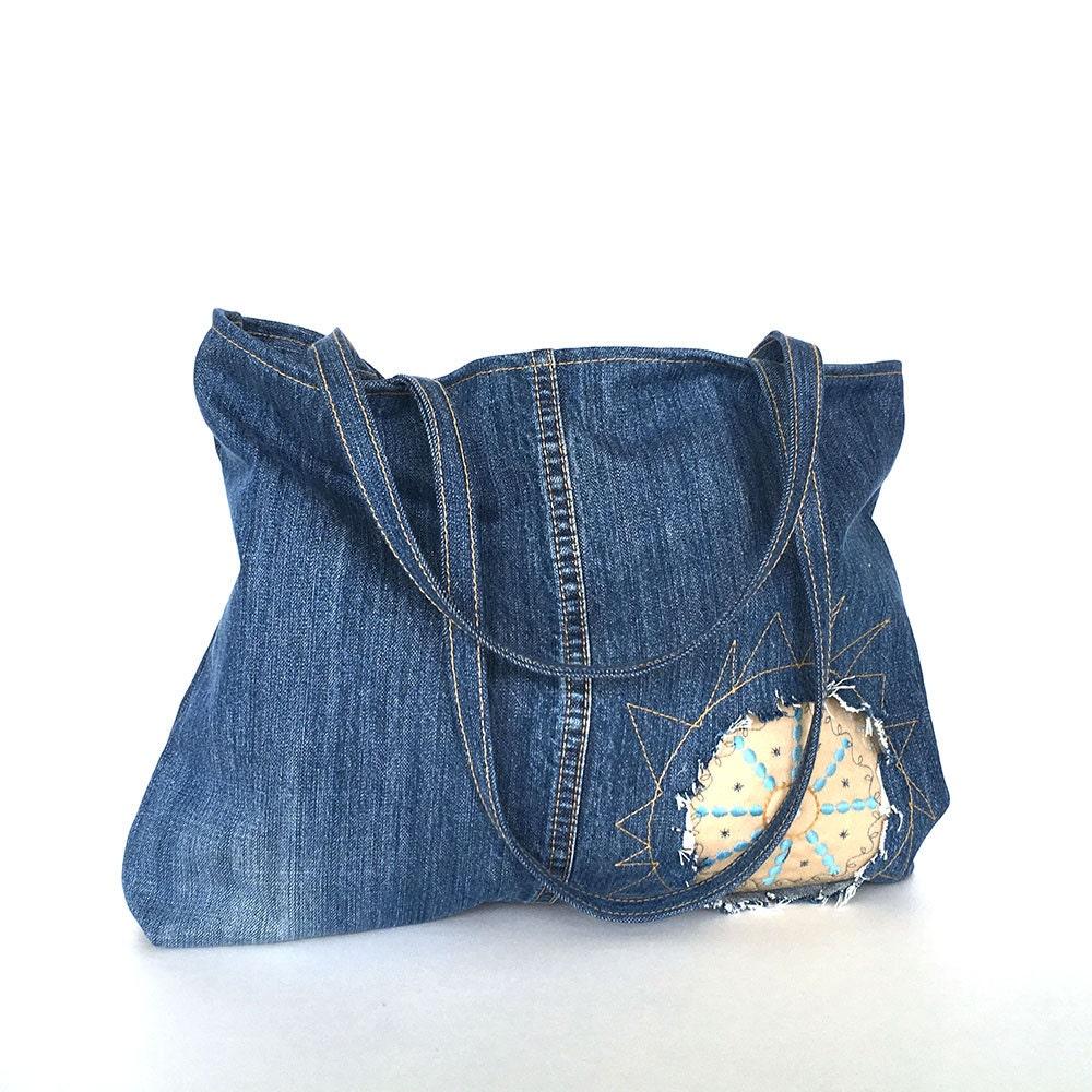 jeans recycl cabas sac main en denim recycl jean bleu. Black Bedroom Furniture Sets. Home Design Ideas
