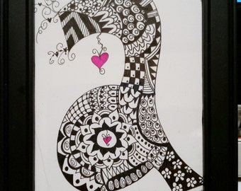 Initials Monogram Black and White Alphabet Hand Drawn Doodle  Made to Order