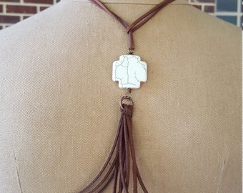 White Cross tassel beach boho chic necklace