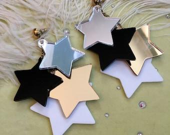 Precious Metal Dangling Stars Earrings