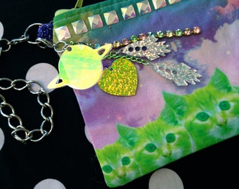 Neon Green Kitty Cats with Rhinestone Studs Wristlet Pouch with Zipper
