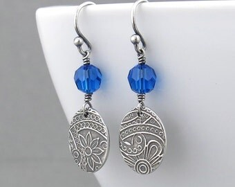 Blue Crystal Earrings Sterling Silver Drop Earrings Small Dangle Earrings Silver Jewelry Crystal Jewelry Handmade Gift for Her - Tracey