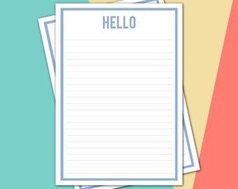 Printable stationery - A4 LIGHT BLUE 'Hello' - letterhead, letter writing sheet (LH002)