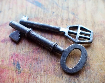 Rustic Odds and Ends Antique Skeleton Key Duo // End Of Winter SALE - 10% Off - Coupon Code SAVE10