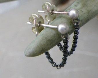 tiny sterling silver chain ear jacket earrings, double sided post earrings, short chain, oxidized sterling silver, minimalist earrings