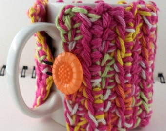 Crocheted Coffee or Ice Cream Cozy, Hot Pink and Candy Colors (SWG-Z18)