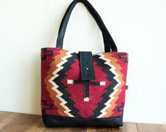 SPECIAL EDITION Ann Shoulder Bag in Red Cristo Saddle Blanket and Black Leather