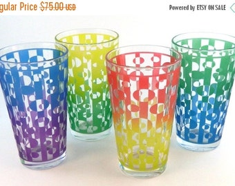 SUMMER SALE Inverted Ovals 16oz Pint Glasses - Set of 4 - Clear Style - Etched and Painted Glassware - Ready to Ship