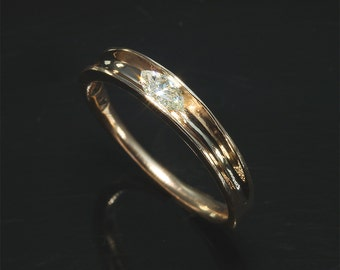 14K Rose Gold and Marquis Diamond Stackable Ring by Cavallo Fine Jewelry