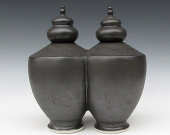Double Urns - Soul Mates - Lidded Vessels - Handmade Urns- Matt Black - Ready to Ship