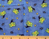 Fat Quarter Halloween Fabric Happy Haunting Green Frogs in Witch Hats Spiders Stars Allover on Blue - Tammy DeYoung/General Fabrics - OOP