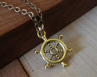 VALENTINES SALE Golden Captains Wheel Necklace - Nautical Jewelry - Mens Jewelry - Mens Accessories
