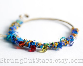Electric Rainbow - Strung-Out guitar string bangle with silk yarn and crystals