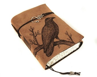 Black Bird, Leather Book, Handmade Journal