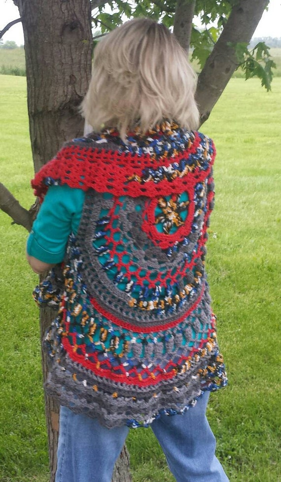pdf crochet pattern for bohemian circle vest for teens and