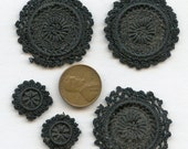 Lot of (5) pieces of Victorian Hand Worked Black Trim Vintage Antique Edwardian Handmade Hand Made 2804