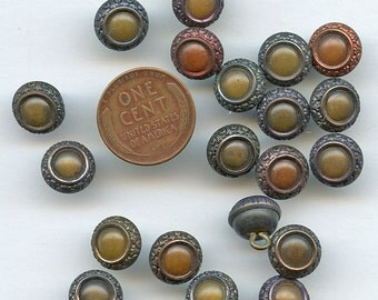 Victorian Celluloid (20) Antique Matching Set with Tints Buttons 7/16 inch size 2366