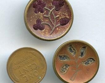 Victorian Large PERFUME Floral Plants Buttons Pair (2) Antique Metal Fabric Original Tint 2475