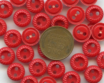 """Set of (10) Matching Vintage RED RED 1940s dress Buttons  3/8"""" 10 mm size 2075 More Available"""