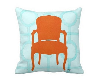 ORANGE CHAIR PILLOW 4 sizes (indoor and outdoor fabrics)