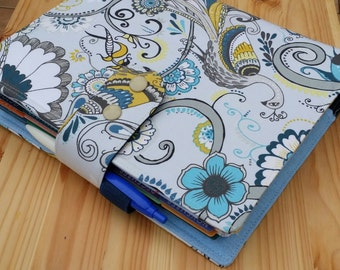 Peacock planner cover  17 pocket  Erin Condren Life Planner Fabric  Planner accessory Adjustable snap closer