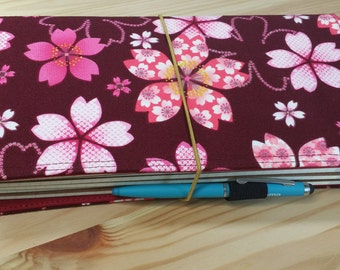 Fabric Fauxdori Traveler's Notebook Pocket size pink flowers Fabric  internal Pockets pen loop