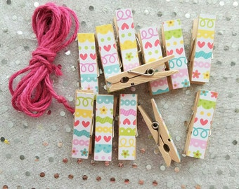 Little Hearts and Scallops Chunky Clothespins w Twine for Display - Wooden Clips Set of 12 - Photo Studio
