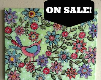 SALE PRICED! Good Morning Sweet Little Mixed Media Folk Art Birdy Floral Painting