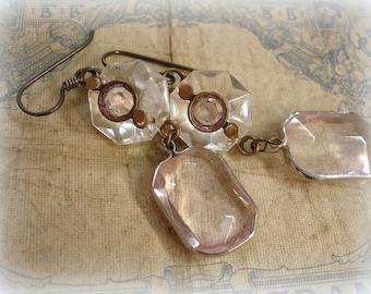 hint one of a kind vintage assemblage earrings . vintage chandelier crystal toppers + light amethyst rhinestones