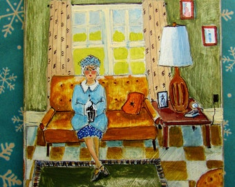 Original painting, elderly lady on couch, retro, whimsical