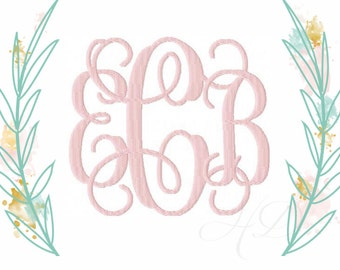 """10"""" inch and 7.5"""" inch Interlocking Embroidery Font Vine Monogram Grace 6x10"""