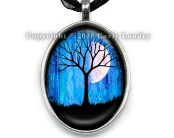 Blue Moon Black Silhouette Tree Pendant Necklace Handmade Jewelry Art Gothic Ribbon Silver Cabochon Abstract Original Artwork Gift