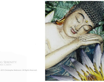 Spring Serenity - Two Sleeping Buddha Tree-Free Greeting Cards by Christopher Beikmann