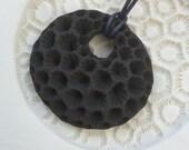 Large matte black coral ceramic pendant -sale